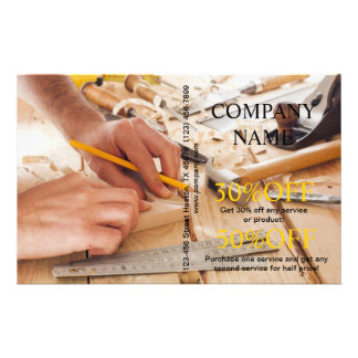 Construção moderna da carpintaria do trabalhador m panfleto personalizados