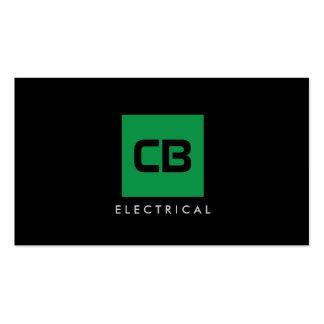 Construção quadrada verde do monograma, elétrica cartão de visita