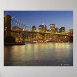 Construções da ponte e da Nova Iorque de Brooklyn Impressão