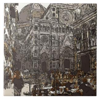 Construções e igreja de pedra rústicas em Paris Azulejo De Cerâmica
