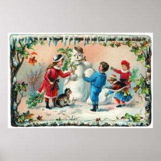 Construindo um boneco de neve c.1890 poster