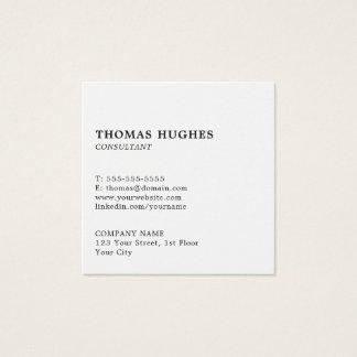 Consultante branco elegante simples profissional cartão de visitas quadrado