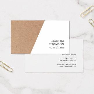 Consultante geométrico branco impresso elegante de cartão de visitas