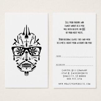 consulte um crânio do açúcar do barbeiro do amigo cartão de visitas