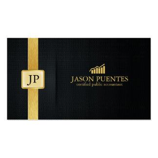 Contabilidade elegante do preto e do ouro com cartão de visita