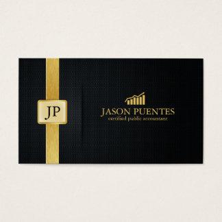 Contabilidade elegante do preto e do ouro com cartão de visitas