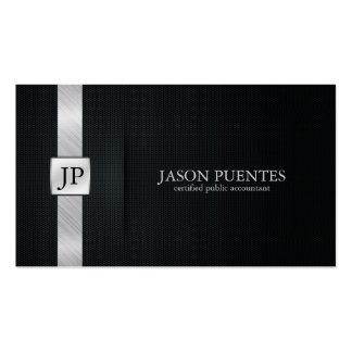 Contabilidade preta e de prata elegante modelo cartao de visita