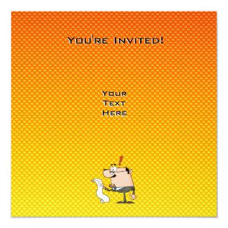 Contador amarelo alaranjado convite quadrado 13.35 x 13.35cm