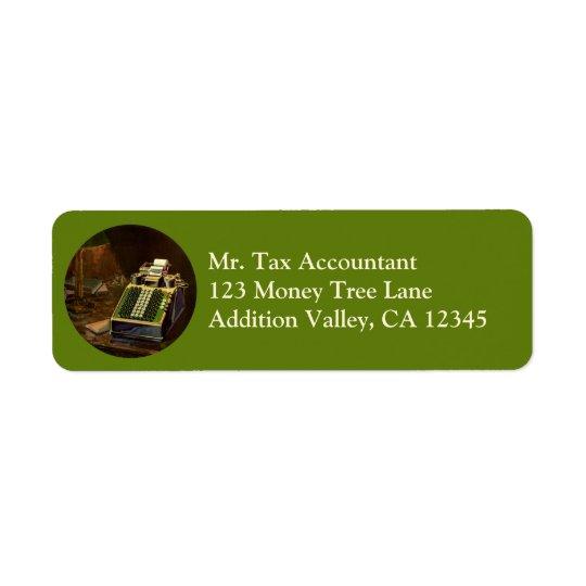 Contador do negócio do vintage, máquina de etiqueta endereço de retorno