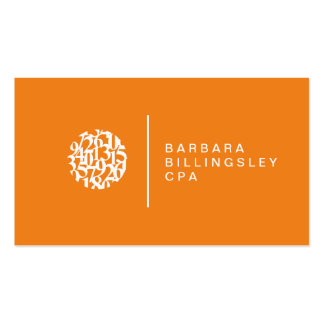 Contador moderno da laranja do logotipo dos cartão de visita