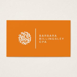 Contador moderno da laranja do logotipo dos cartão de visitas