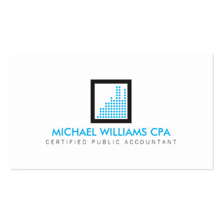 Contador moderno, logotipo financeiro no azul cartão de visita