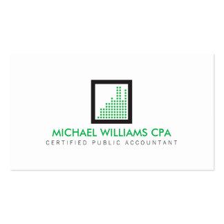Contador moderno, logotipo financeiro no verde cartão de visita