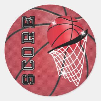 Contagem de basquetebol no vermelho adesivo