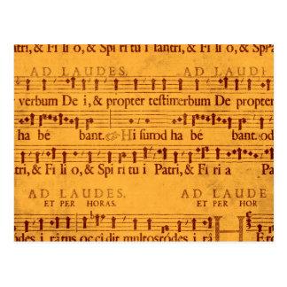 Contagem gregoriana da música do canto cartão postal