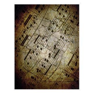 Contagem musical da folha velha, notas da música d cartao postal