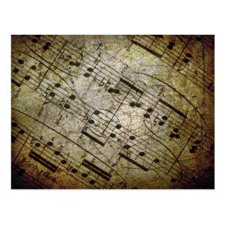 Contagem musical da folha velha, notas da música d cartoes postais