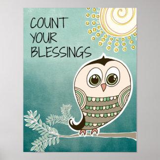 Conte suas citações das bênçãos com coruja impressão
