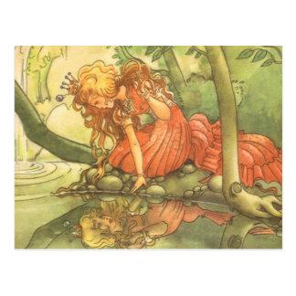 Conto de fadas do vintage, príncipe princesa do cartão postal