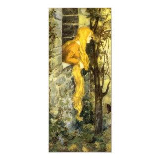 Conto de fadas do vintage, Rapunzel com cabelo Convite 10.16 X 23.49cm