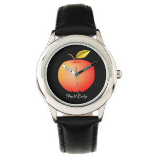 Contraste simples vermelho preto legal da senhora relógio