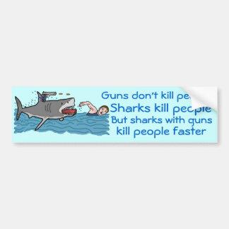 Controlo de armas engraçado do tubarão adesivos