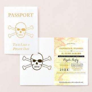 Conversa como um passaporte da folha de ouro do cartão metalizado