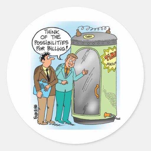 Conversa dos advogados sobre a máquina do tempo adesivo em formato redondo