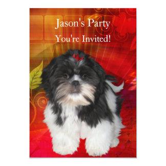 Convide a festa de aniversário Shih Tzu no Convite 12.7 X 17.78cm