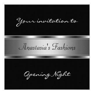 Convide a prata preta da noite da inauguração convite personalizado