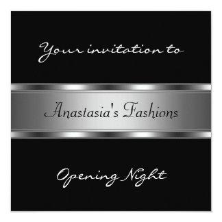 Convide a prata preta da noite da inauguração convite quadrado 13.35 x 13.35cm
