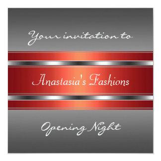 Convide a prata vermelha cinzenta da noite da convite quadrado 13.35 x 13.35cm