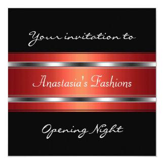 Convide a prata vermelha preta da noite da convite quadrado 13.35 x 13.35cm