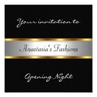 Convide o ouro branco preto da noite da inauguraçã convites personalizado