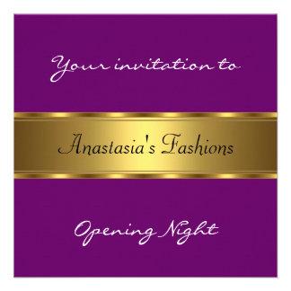 Convide o ouro do roxo da noite da inauguração convite personalizados
