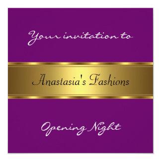 Convide o ouro do roxo da noite da inauguração convite quadrado 13.35 x 13.35cm