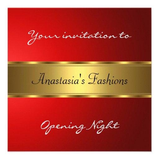 Convide o ouro do vermelho da noite da inauguração convite personalizado