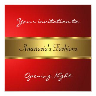 Convide o ouro do vermelho da noite da inauguração convite quadrado 13.35 x 13.35cm