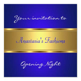 Convide o ouro dos azuis cobaltos da noite da convite personalizado