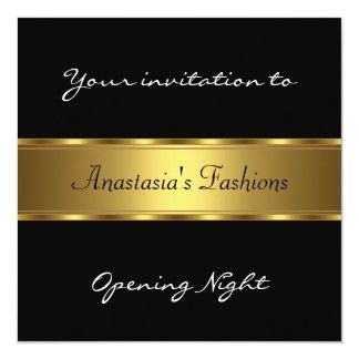 Convide o ouro preto da noite da inauguração convite quadrado 13.35 x 13.35cm