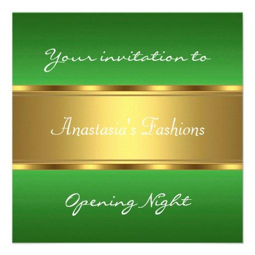 Convide o ouro verde da noite da inauguração convite