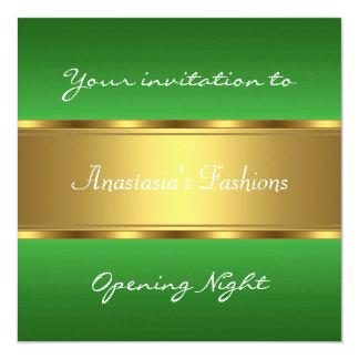 Convide o ouro verde da noite da inauguração convite quadrado 13.35 x 13.35cm
