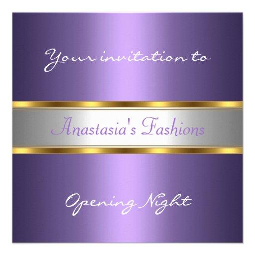Convide o roxo da noite da inauguração convites