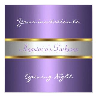Convide o roxo da noite da inauguração convite quadrado 13.35 x 13.35cm