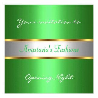 Convide o verde da noite da inauguração convite