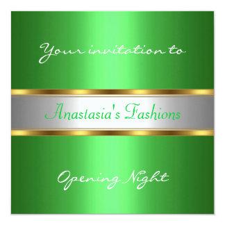 Convide o verde da noite da inauguração convite quadrado 13.35 x 13.35cm