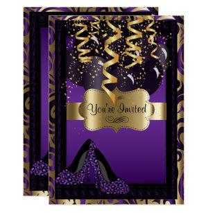 94e04a9982 Convite 00th Leopardo dos saltos altos do roxo da festa de