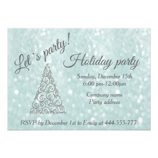 Convite 12.27 X 17.78cm Festa natalícia incorporada Glittery da árvore de