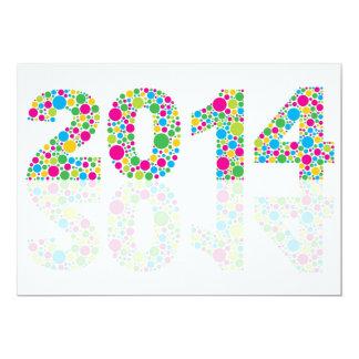 Convite 2014 colorido do ano novo das bolinhas