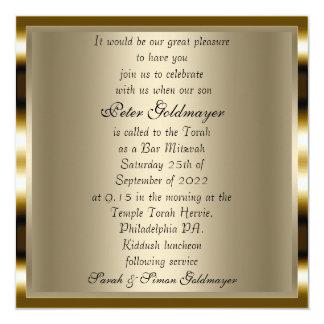 Convite 2 da cerimónia do ouro de Mitzvah do bar